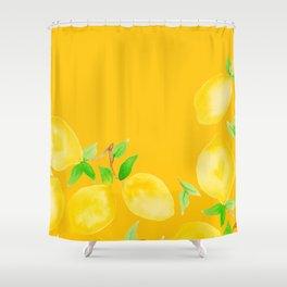 Lemons on Mustard Yellow Shower Curtain