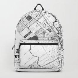 Vintage Map of San Jose California (1886) BW Backpack