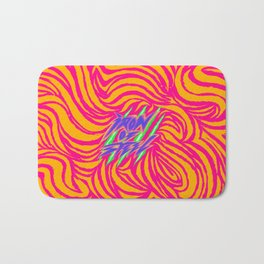 IRON of STEEL yellow on pink Bath Mat