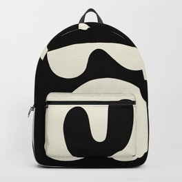 Mid Century Modern Organic Abstraction 235 Black and Linen Backpack