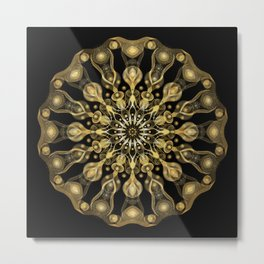 Gold Mandala with black background I- Light Frequency Energy Art Metal Print