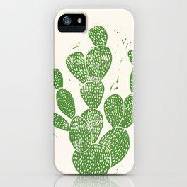 Linocut Cactus #1 iPhone Case