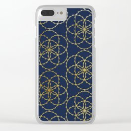 Metallic gold seed of life pattern Clear iPhone Case