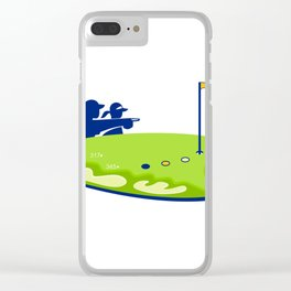 Golfer Caddie Golf Course Retro Clear iPhone Case