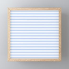 Mattress Ticking Narrow Horizontal Stripe in Pale Blue and White Framed Mini Art Print