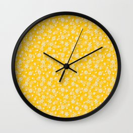 Festive Yellow Aspen Gold and White Christmas Holiday Snowflakes Wall Clock
