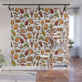 Hand Drawn Beer and Snacks Pattern Wall Mural