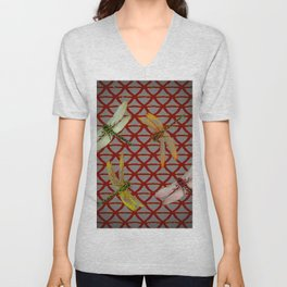 DRAGONFLIES  RED-GREY ORIENTAL SCREEN ART Unisex V-Neck