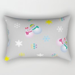 Snowflakes & Pair Snowman_A Rectangular Pillow