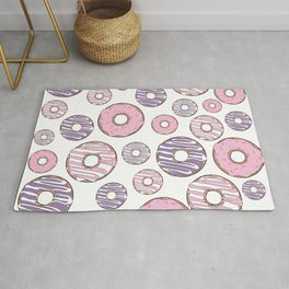 Pattern Of Donuts, Sprinkles, Icing - Pink Purple Rug