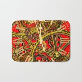 RED-GOLD STEAMPUNK CLOCK WORKS ART Bath Mat