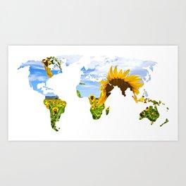 World of Sunflowers Art Print