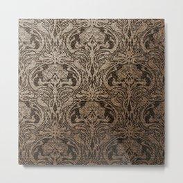 Brown, black, floral, art nouveau,  belle epoque, Vintage,Victorian, Chic, French chic, Antique, Retro, beautiful, Nouveau Metal Print