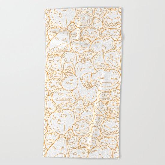 Pumpkin Halloween line pattern Beach Towel