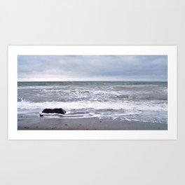 Cloudy Day on the Beach Art Print