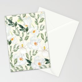Magnolia and Orchid Blossoms Watercolor Stationery Cards
