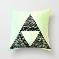 triforce Throw Pillows featuring Triforce by Leonnie's Art
