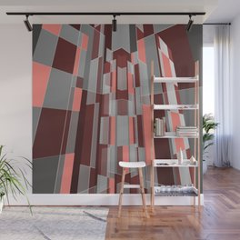 Modern geometric architecture in coral, grey and red Wall Mural