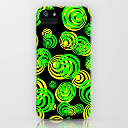 Neon yellow and Green Circles on Black iPhone Case