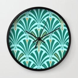 Art Deco Fan Pattern Turquoise on Aqua Wall Clock