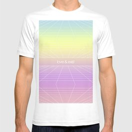 Love & Exist - 3D Dimensional Wireframe Plane of Existence Pastel Surreal Design T-shirt