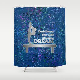 Gymnastics Live Your Dream-Silver and Navy Digital Design Shower Curtain