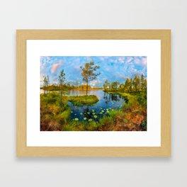 Autumn on the river Framed Art Print
