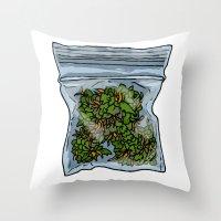 cannabis Throw Pillows featuring illustrated gram of cannabis by HiddenStash Art