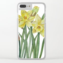 Watercolor Daffodils Botanical Illustration Clear iPhone Case