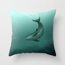 """Siren of the Lagoon"" by Amber Marine ~ Indian River Lagoon Bottlenose Dolphin Art, (Copyright 2015) Throw Pillow"