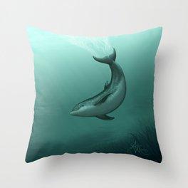 """Siren of the Lagoon"" by Amber Marine ~ Indian River Lagoon Bottlenose Dolphin Art, (Copyright 2015) Throw Pillow"