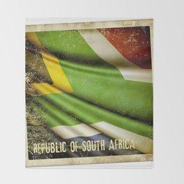 South Africa grunge sticker flag Throw Blanket