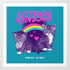 Kittens & Rainbows Art Print