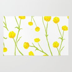 Summer Flower Pattern in Yellow and Green Rug