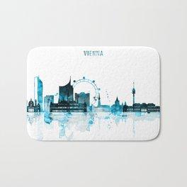 Vienna Austria Monochrome Blue Skyline Bath Mat