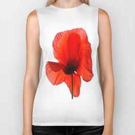 Simply Red - Poppy Flower on White Biker Tank