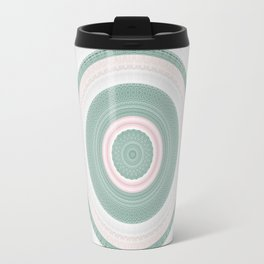Bohemian Mint Green and Pink Texture Mandala Travel Mug