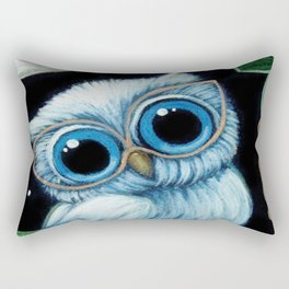 BABY BLUE OWL with EYEGLASSES Rectangular Pillow