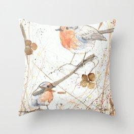 Kleine rote Vögelchen (Little red birdies) Throw Pillow
