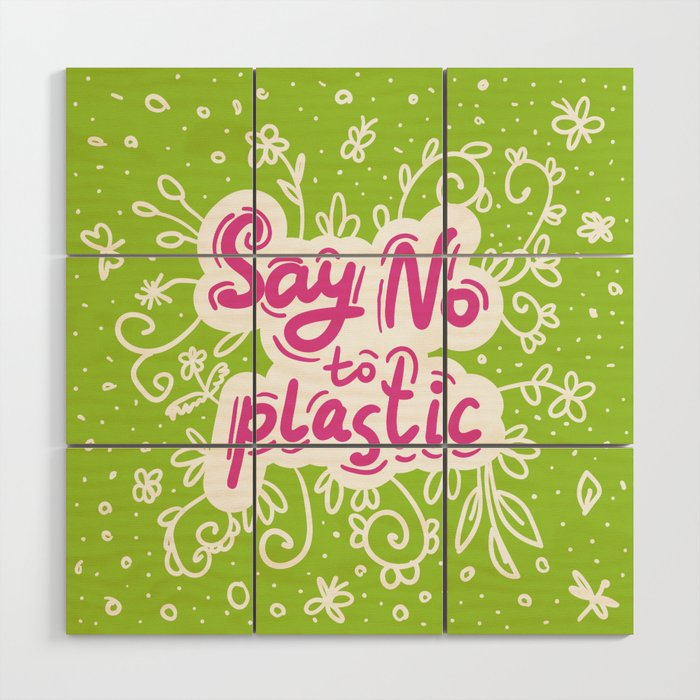 Say no to plastic. Pollution problem, ecology banner poster. Wood ...