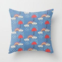 April showers rainbow Clouds Blue #nursery Throw Pillow