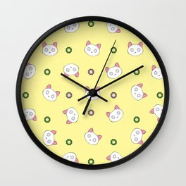 Glamour Cat Yellow Wall Clock