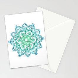 Green gradient mandala Stationery Cards