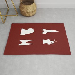 Delft silhouette on red Rug