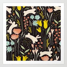 Bunnies in the garden Art Print