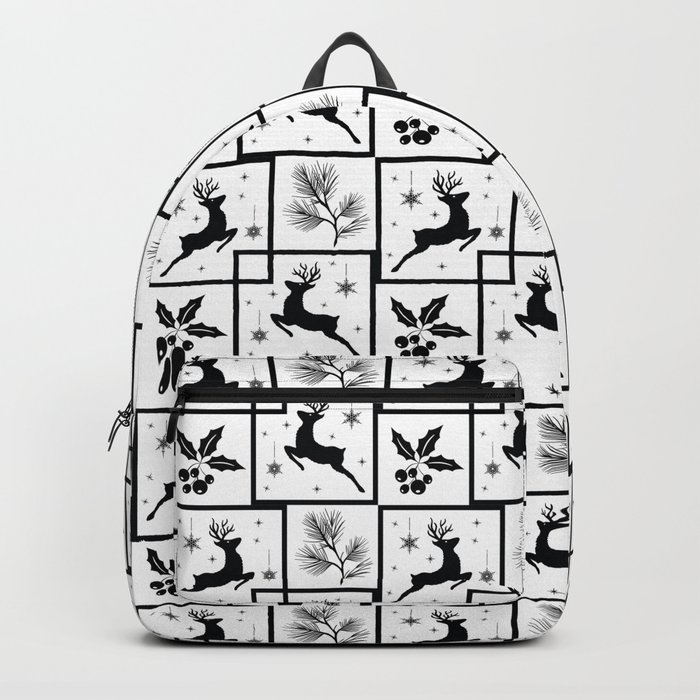 Christmas black and white pattern. Backpack