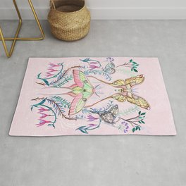 Chinese Moon Moth and Butterflies Rug