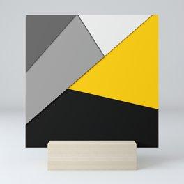 Simple Modern Gray Yellow and Black Geometric Mini Art Print
