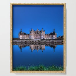 The castle of Chambord at night Serving Tray