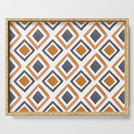 Watercolor Geometric Pattern - Rust & Gray  Serving Tray